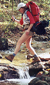 Coleen crossing stream
