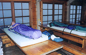 Sleeping on the tables at Lake of the Clouds